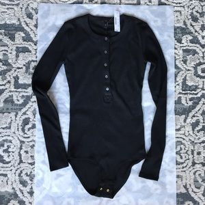 J. Crew black long sleeve Henley bodysuit
